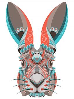 白い背景にスタイル化されたカラフルなウサギの肖像画 Premiumベクター