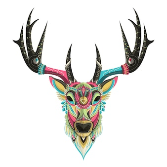 白い背景には、色とりどりの鹿の肖像画