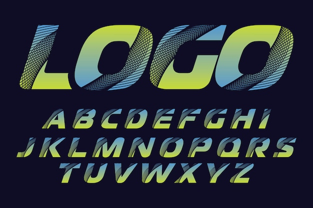 Stylized colorful font and alphabet for logo designs
