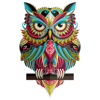 Stylized colorful owl on white