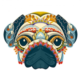 Stylized colorful pug portrait on white background