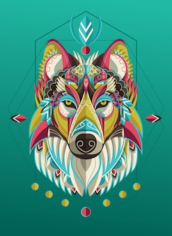 Stylized colorful wolf portrait