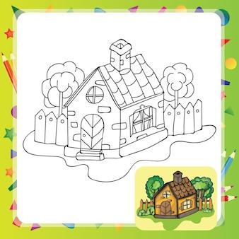 정원 색칠하기 책이 있는 양식화된 시골 집