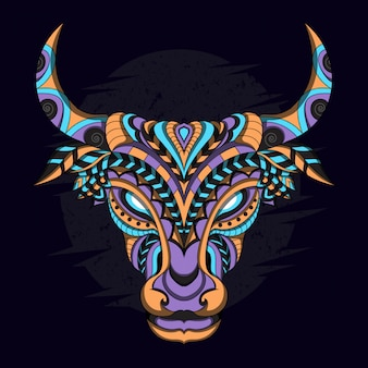 Stylized cow in ethnic style Premium Vector