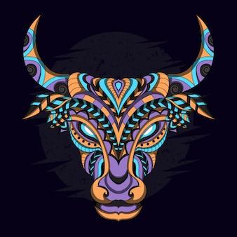 エスニックスタイルの様式化された牛