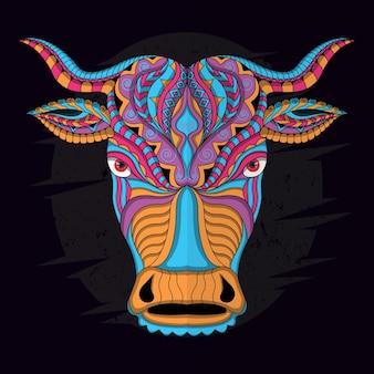 民族ベクトル暗い背景の様式化された牛