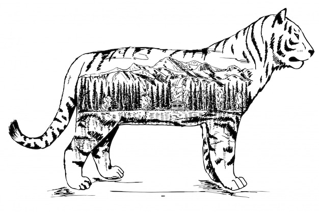 Stylized decorative tiger