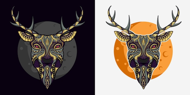 Stylized deer in ethnic vector black and white background