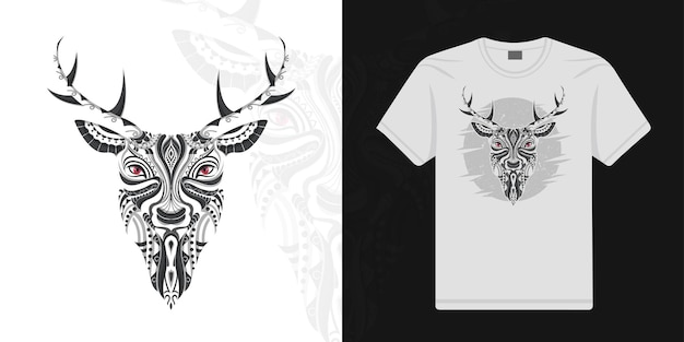 Stylized deer in ethnic vector white background