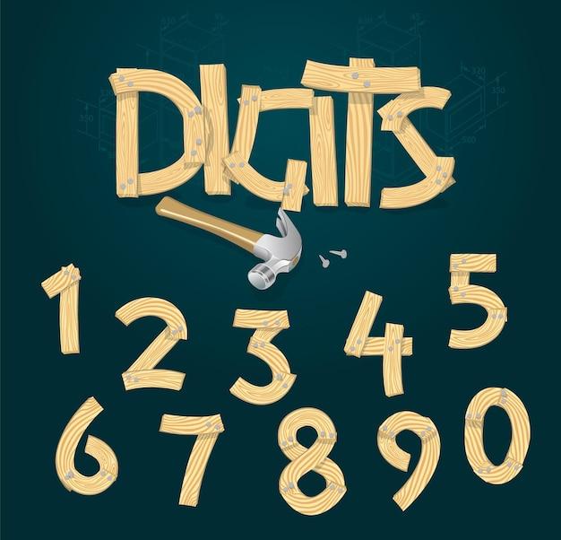 나무 판에서 양식에 일치시키는 숫자, 벡터 글꼴