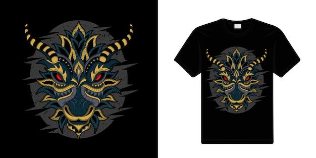 Стилизованный дракон в этническом темном фоне