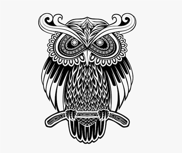 Stylized face of a owl  in the style of zentangle