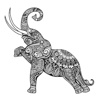 Stylized fantasy patterned elephant.