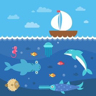 水中生物の様式化された平らなイラスト。海底の風景と旅行の帆船