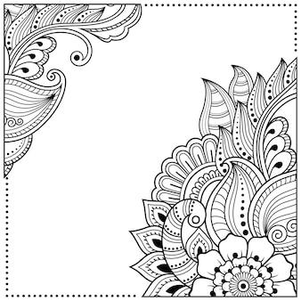 一時的な刺青スタイルの定型化された花。正方形のフレーム