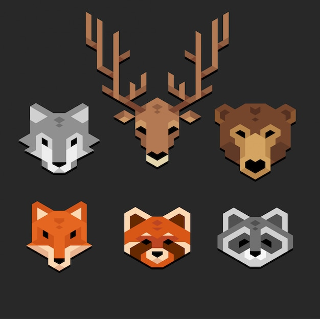 Stylized geometric animal heads set