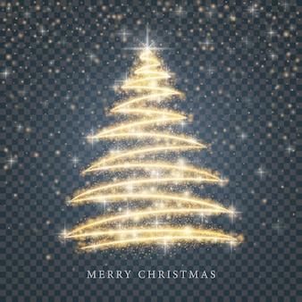 Стилизованный золотой силуэт счастливой елки из блестящих частиц круга на черном прозрачном фоне. золотая рождественская ель
