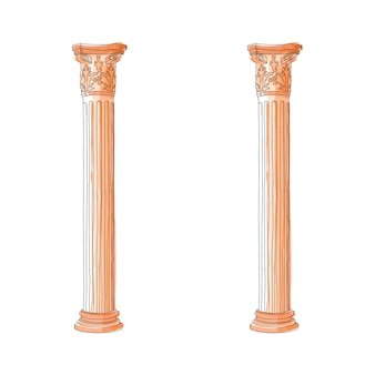 Stylized greek doodle column doric ionic corinthian columns