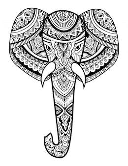 象の様式化された頭。象の装飾的な肖像画。黒と白の描画。