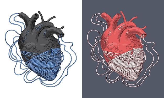 스레드에서 얽힌 심장의 양식에 일치시키는 그림. 벡터