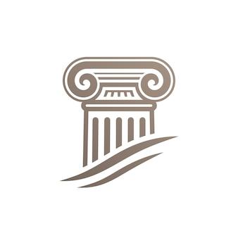 Stylized ionic column icon logo template design