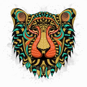 Stylized lion in ethnic style