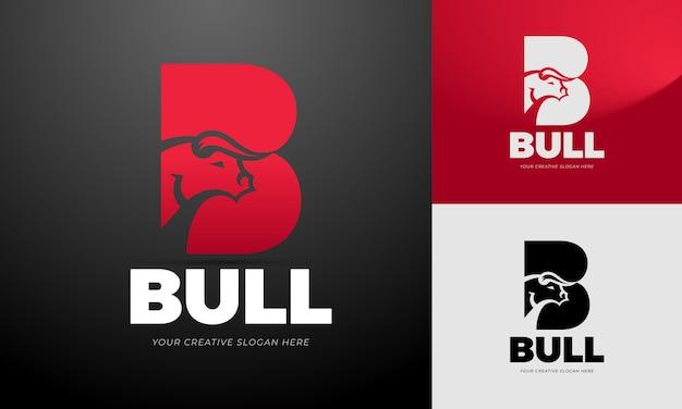 Stylized logo template of a bulls head editable vector