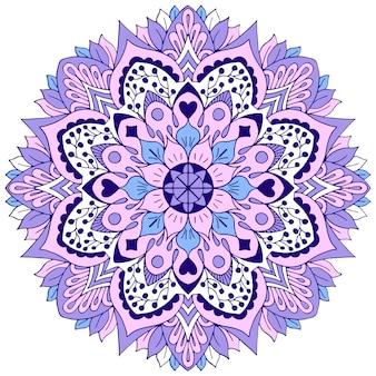 Stylized mandala with floral elements, and geometric shapes.  illustration