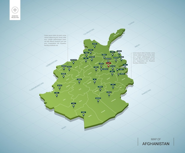 Stylized map of afghanistan. isometric 3d green map with cities, borders, capital kabul, regions.