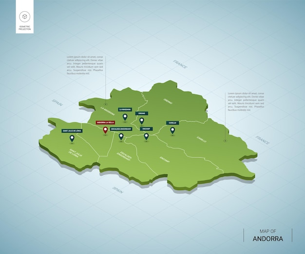Stylized map of andorra. isometric 3d green map with cities, borders, capital, regions.