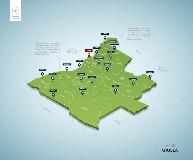 Stylized map of angola. isometric 3d green map with cities, borders, capital luanda, regions.