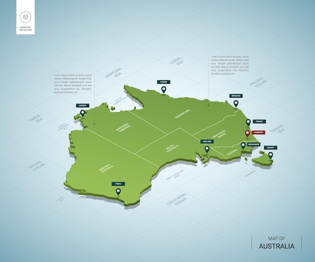 Stylized map of australia. isometric 3d green map with cities, borders, capital canberra, regions.