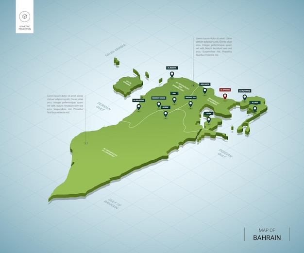 Stylized map of bahrain. isometric 3d green map with cities, borders, capital manama, regions.