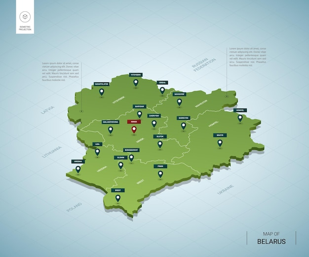 Stylized map of belarus. isometric 3d green map with cities, borders, capital minsk, regions.