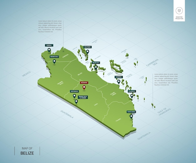 Stylized map of belize. isometric 3d green map with cities, borders, capital belmopan, regions.