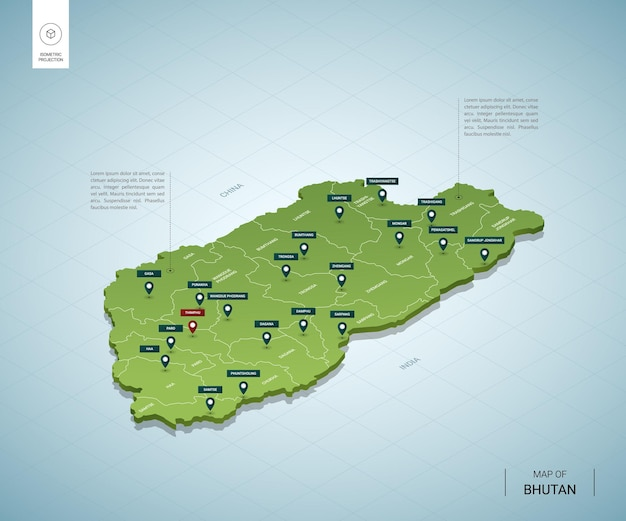 Stylized map of bhutan. isometric 3d green map with cities, borders, capital thimphu, regions.