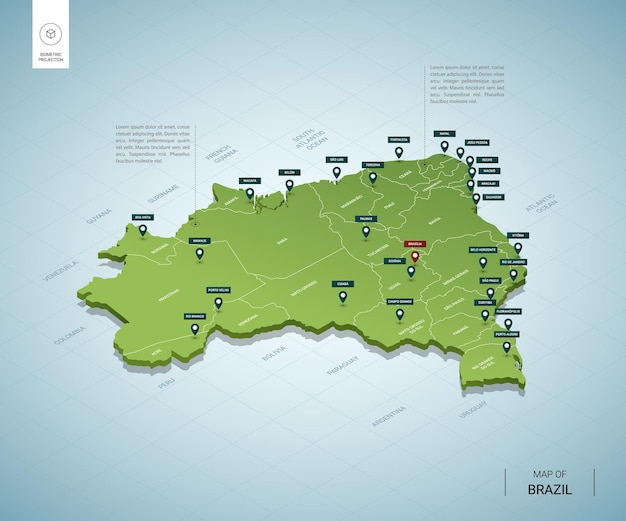 Stylized map of  brazil. isometric 3d green map with cities, borders, capital, regions.