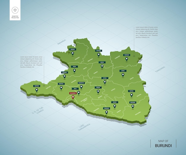 Stylized map of burundi. isometric 3d green map with cities, borders, capital bujumbura, regions.