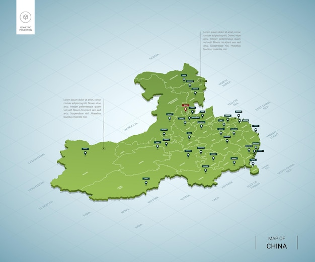 Stylized map of china isometric 3d green map with cities