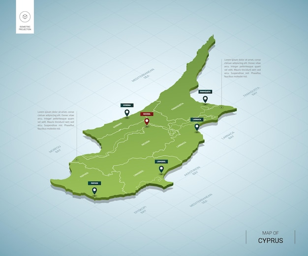 Stylized map of cyprus isometric 3d green map with cities