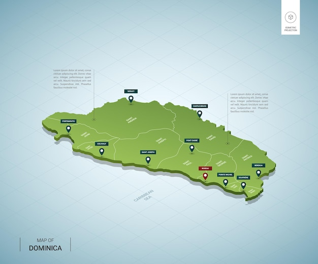 Stylized map of dominica.