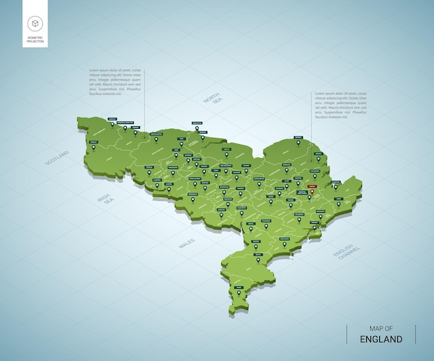 Stylized map of england. isometric 3d green map with cities, borders, capital london, regions.