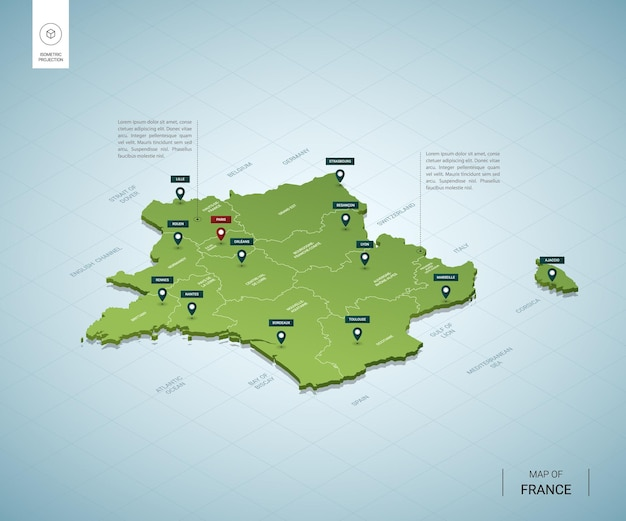 Stylized map of france isometric 3d green map with cities, borders, capital paris, regions