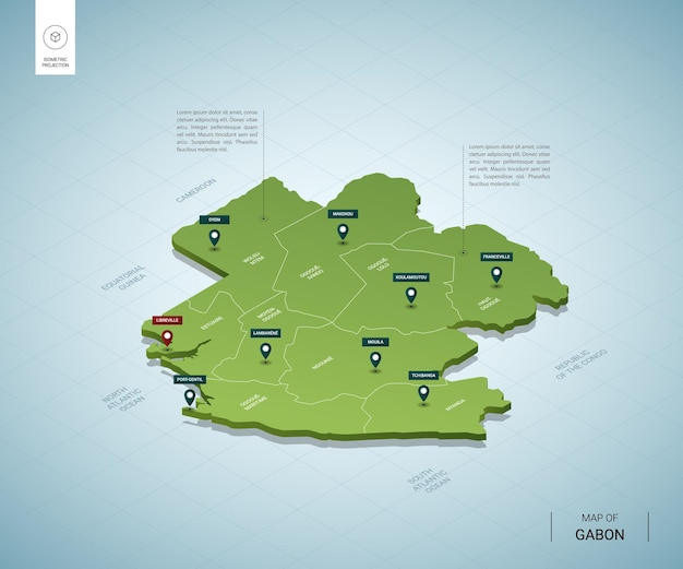 Stylized map of gabon. isometric 3d green map with cities, borders, capital libreville, regions.