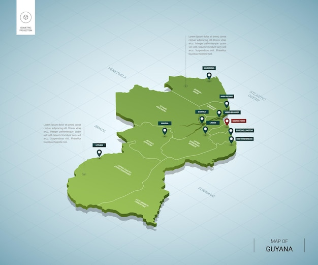 Stylized map of guyana. isometric 3d green map with cities, borders, capital georgetown, regions.