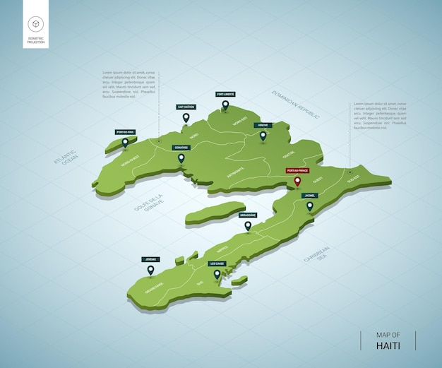 Stylized map of haiti. isometric 3d green map with cities, borders, capital port-au-prince, regions.