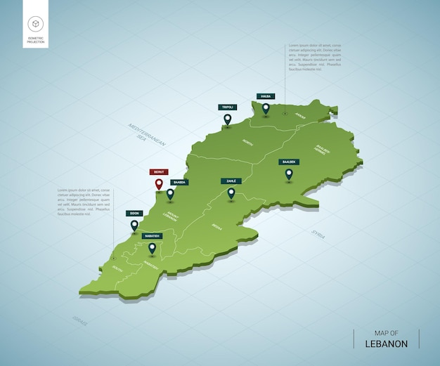 Stylized map of lebanon. isometric 3d green map with cities, borders, capital beirut, regions.