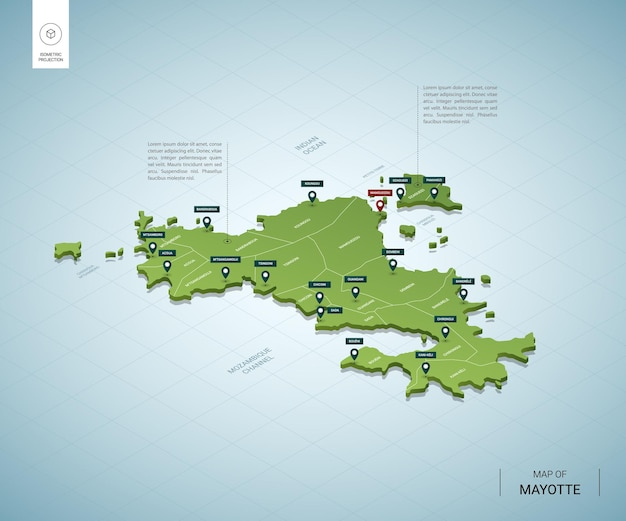 Stylized map of mayotte. isometric 3d green map with cities, borders, capital, regions.