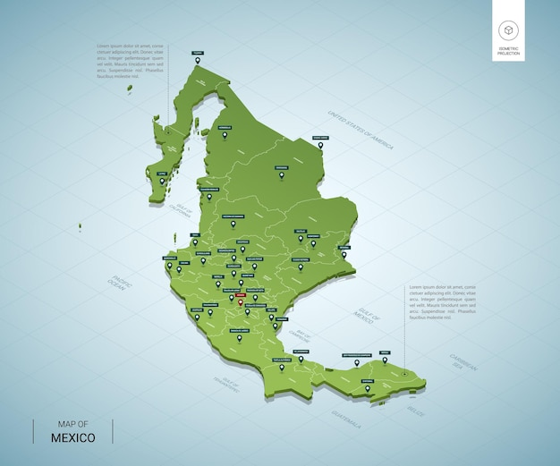 Stylized map of mexico. isometric 3d green map with cities, borders, capital, regions.