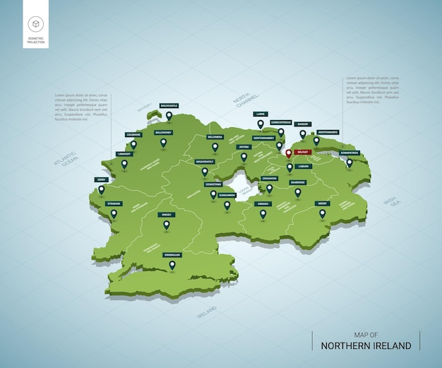 Stylized map of northern ireland. isometric 3d green map with cities, borders, capital belfast, regions.